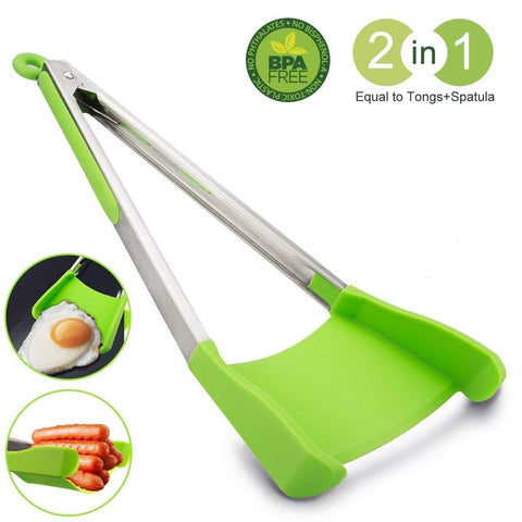 Clever Tongs - Non-Stick Heat Resistant - 2 In 1 Kitchen Spatula