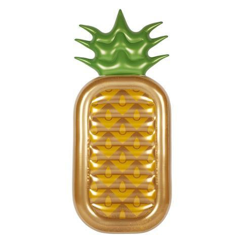 Inflatable Pool Float - Luxe Lie-On Float Gold Glitter Pineapple