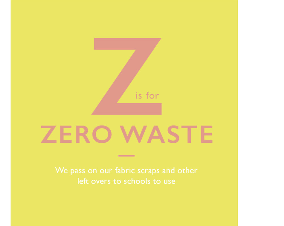 Z is for Zero Waste. We pass on our fabric scraps and other left overs to schools to use