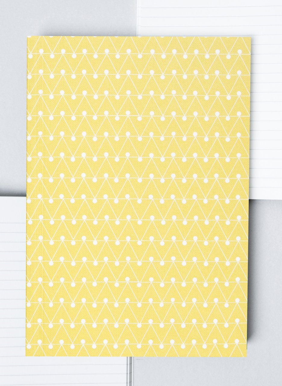 Ola Layflat Notebook Dash Print Leaf Yellow