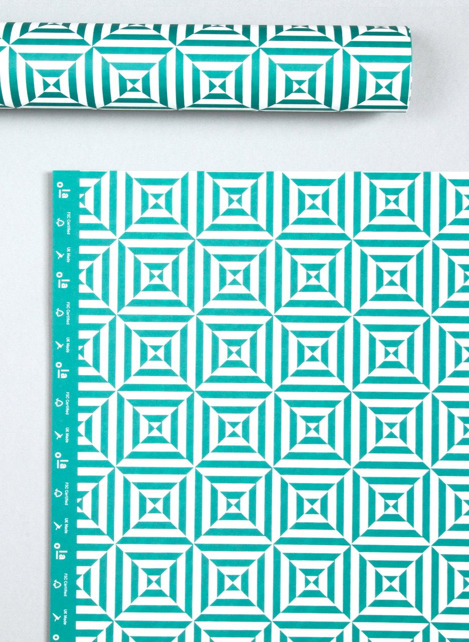 Ola Patterned Papers Alma Print Peacock Green