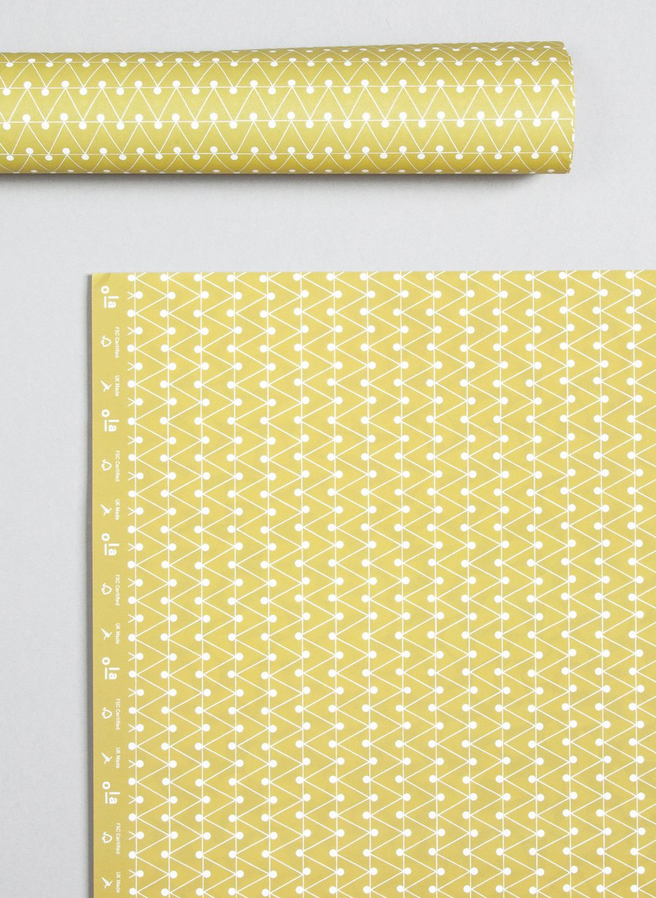 Ola Patterned Papers Dash Print Leaf Yellow
