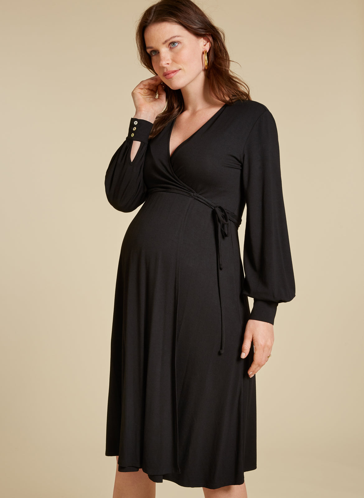 4a46ddee780ba Romola Maternity Wrap Dress. $67 $169. Caviar Black