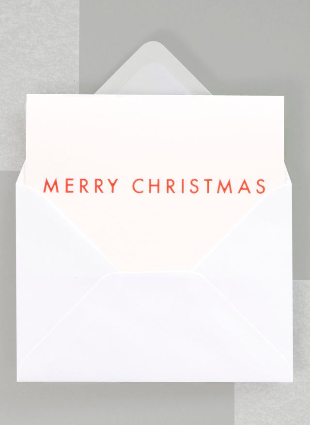 Ola Festive Merry Christmas Typographic Foil Blocked Card