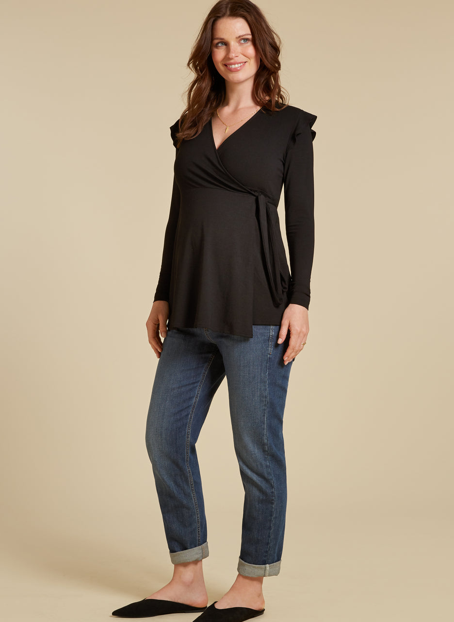 Alma Maternity Wrap Top