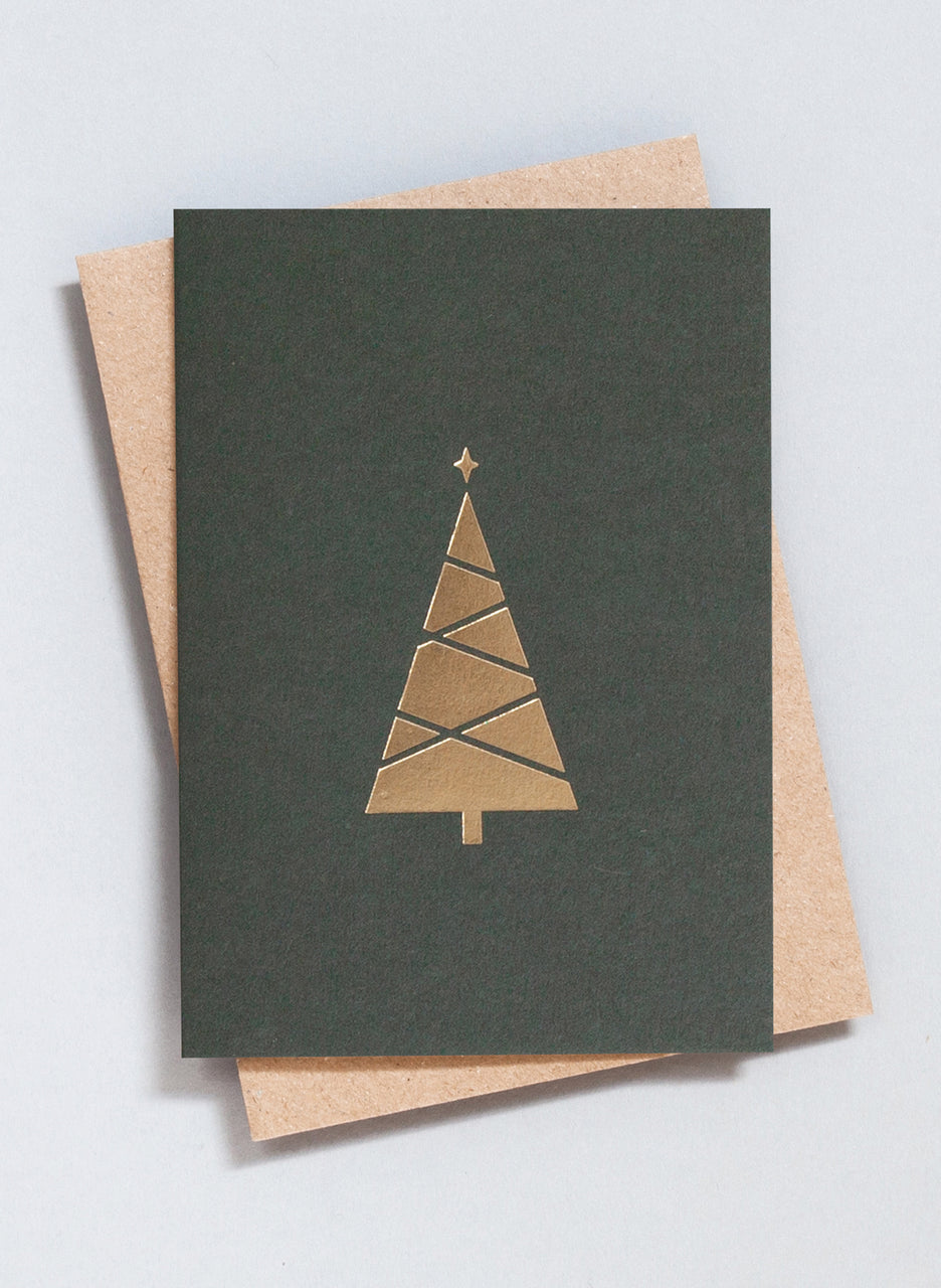 Ola Festive Foil Blocked Tree Print Card