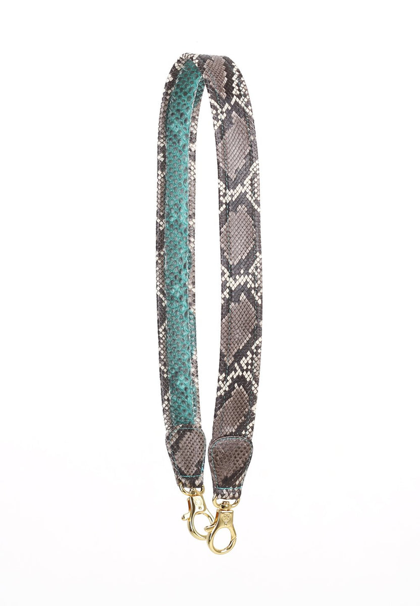 Ombre Python Skin Leather Strap (Anthracite)