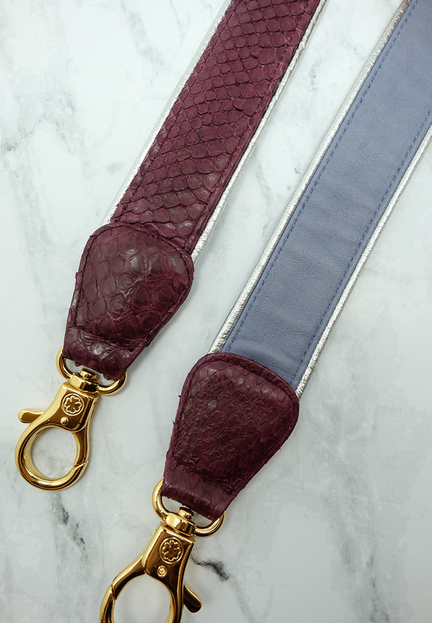 Silver Lining Python/Lambskin Leather Strap (Burgundy Lavender)