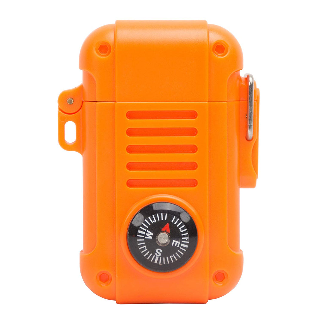 UST Wayfinder Lighter, Orange, with Piezo-Electric Ignition and Built-in Compass for Backpacking, Hunting and Hiking