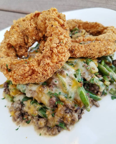 Ground Beef Bake with Crispy Onion Rings by @LowKarbKhaleesi