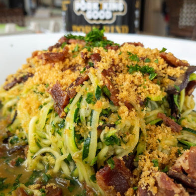 Zoodle Carbonara with Pork Rind Mollica (Paleo, Keto) by Carson Sweezy