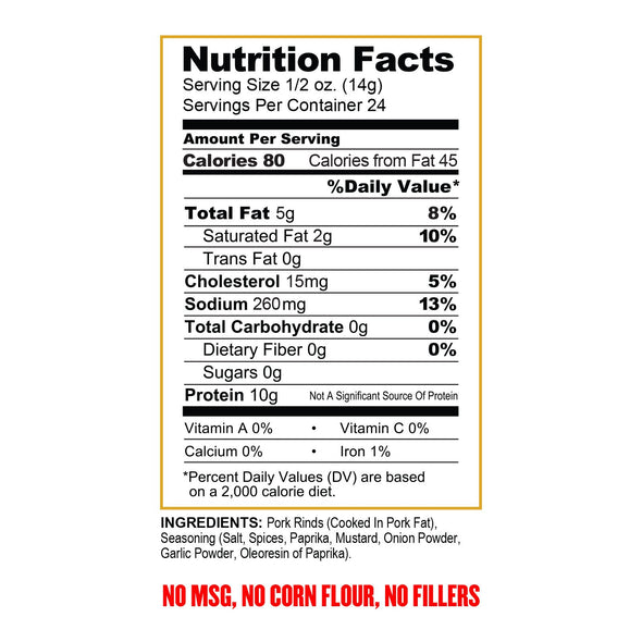 Pork King Good Nutritional Label