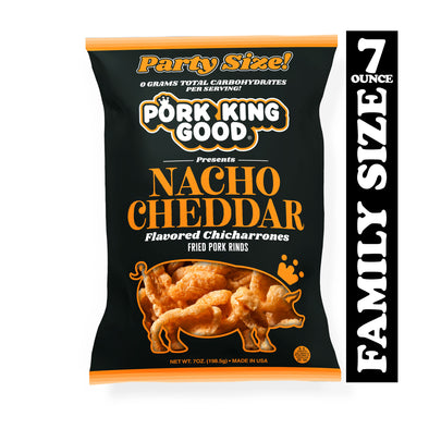 Pork King Good Nacho Cheddar Pork Rinds 7oz Party Size Bags