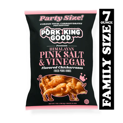 Pork King Good Himalayan Pink Salt & Vinegar Pork Rinds 7oz Party Size Bags