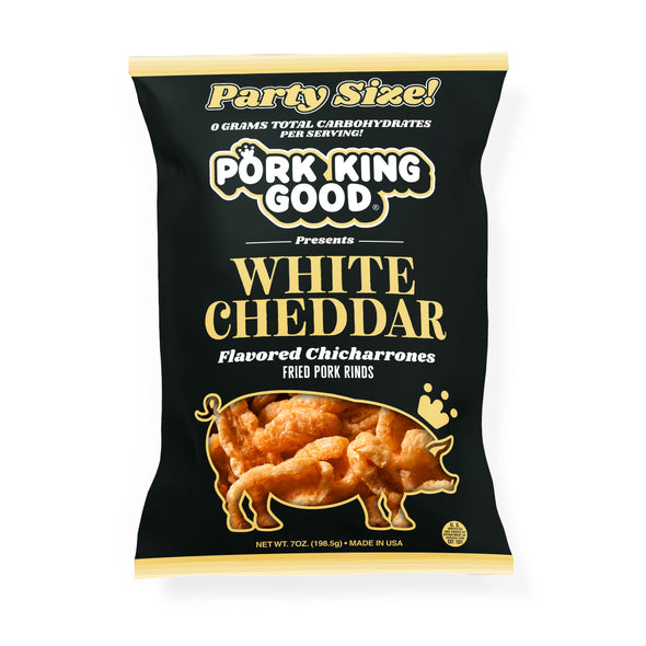 Pork King Good White Cheddar Pork Rinds 7oz Party Size Bag