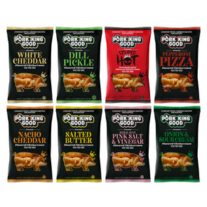Pork King Good Pork Rinds NEW VARIETY 8 PACK - Try them all!