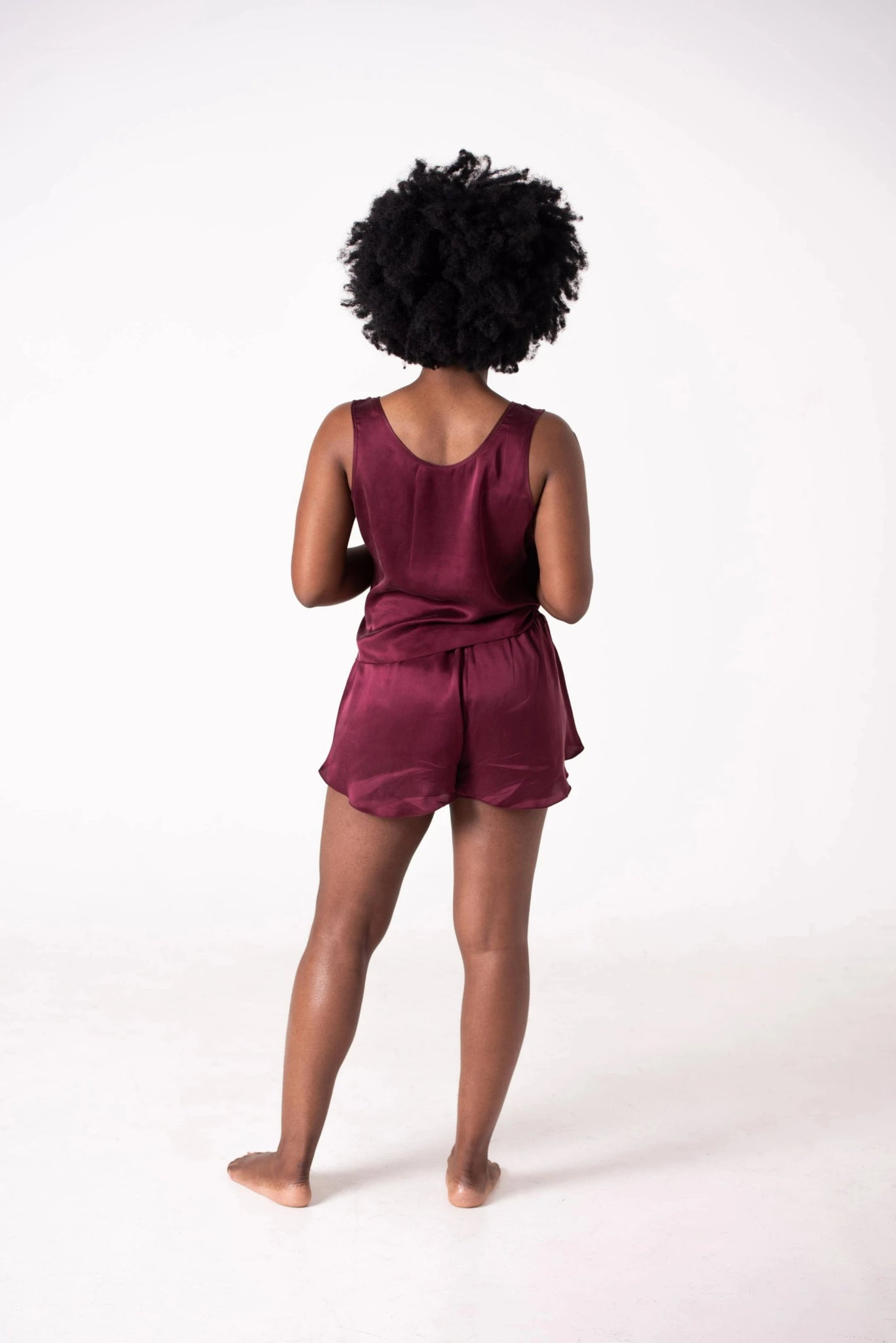 TIWA WASHABLE SILK SHORT SET - MAROON
