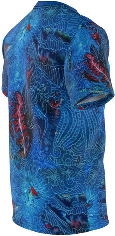 Right side view of a beautiful, high-performance, microfiber sport shirt, with intricate blue design with dark red highlights and black seam stitching.