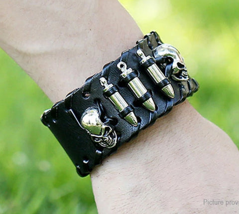 Front view image of a person wearing Unisex Skull Leather Band Bracelet