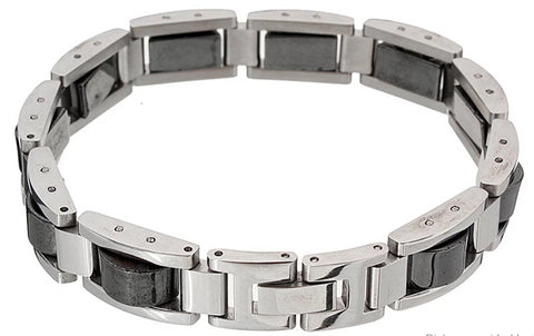 Front view of Men's Titanium & Hematite Magnetic Pain Relief Bracelet