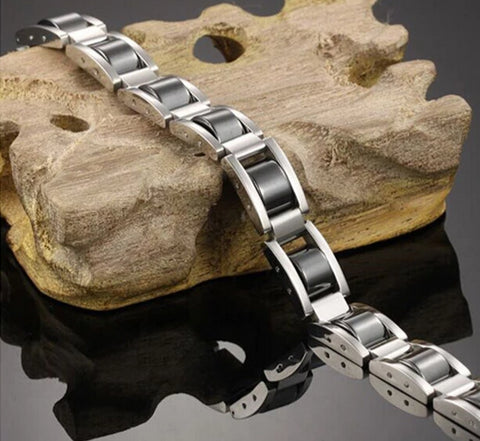 Front view Men's Titanium & Hematite Magnetic Pain Relief Bracelet