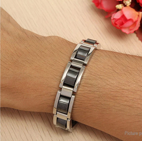 Men's Titanium & Hematite Magnetic Pain Relief Bracelet