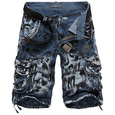 Front view of Blue Military Throwback Style Graffiti Jeans Shorts for men