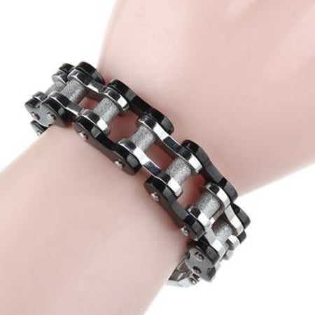 Image of a man's hand using Sporty Bike Chain Bracelet