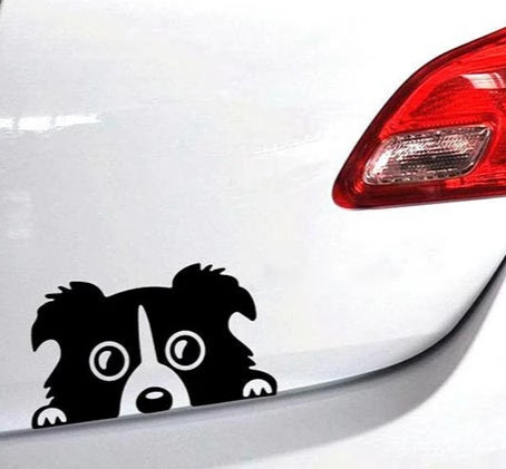 "Image of View of ""Peeking Puppy"" Dog Car Decal peeking out from the trunk of a white car.."
