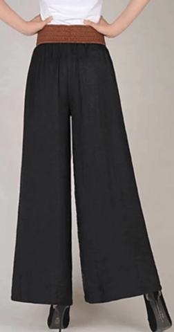 Black Vintega style, wide leg, low waist Women's polyester patchwork design pants