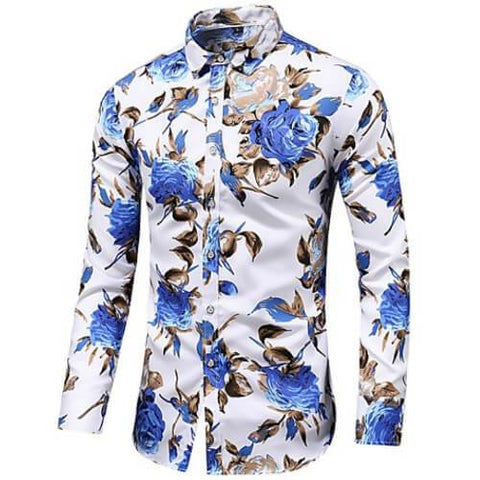 "Image of Front view of Men's White with Blue flowers Vintage Luxury ""Large Rose Floral"" Long Sleeve Cotton Dress Shirt"