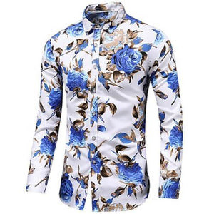 "Front view of Men's White with Blue flowers Vintage Luxury ""Large Rose Floral"" Long Sleeve Cotton Dress Shirt"
