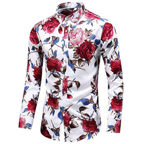 "Image of Front view of Men's White with Red flowers Vintage Luxury ""Large Rose Floral"" Long Sleeve Cotton Dress Shirt"