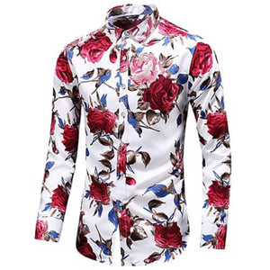 "Front view of Men's White with Red flowers Vintage Luxury ""Large Rose Floral"" Long Sleeve Cotton Dress Shirt"