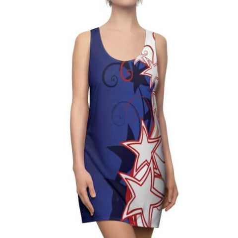 Image of Front view of Woman wearing a Patriotic Stylized Shooting Stars Racerback Dress with highly-styled red and white shooting stars and swirls against a blue field.