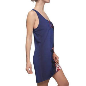 Right side view of woman wearing Patriotic Stylized Shooting Stars Racerback Dress with highly-styled red and white shooting stars and swirls against a blue field.