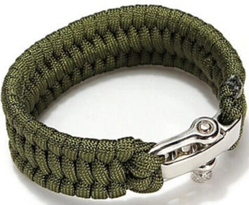 Front view of Army Green Paracord Bracelet With No Slip Clasp