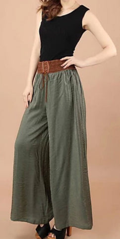 Army Green Vintega style, wide leg, low waist Women's polyester patchwork design pants