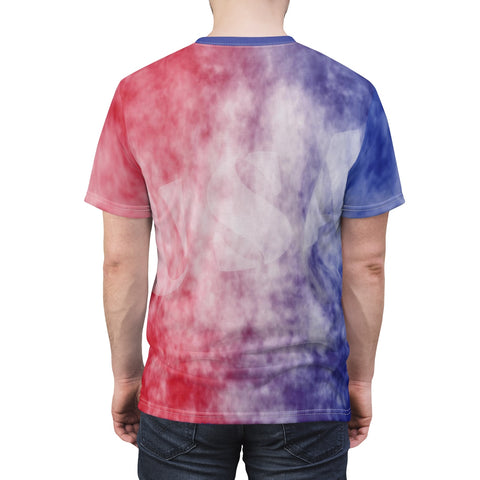 """Blue into Red Clouds USA"" High Performance Microfiber Unisex Casual Sport Shirt"
