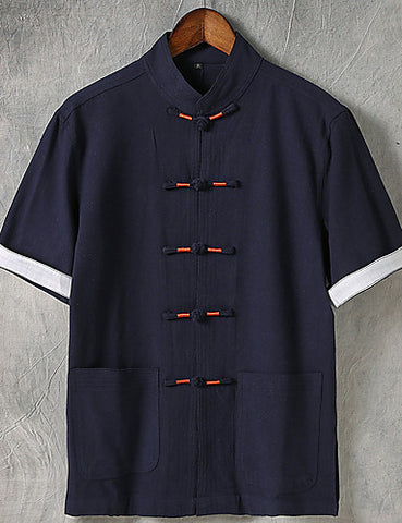Front view of a navy blue Men's Casual Chinoiserie Linen Short Sleeve Shirt in a hanger.