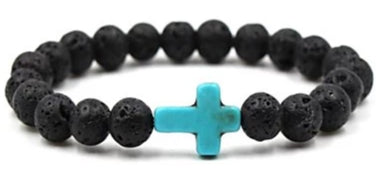Front view of Black Natural Stone Bead Bracelet with Light Blue Cross for men