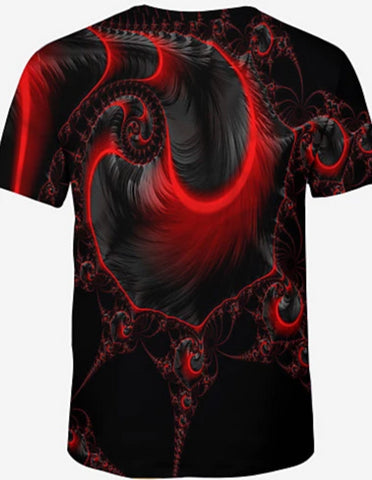 Back view of Red 3D Red Fractal Crew Neck Short Sleeve T-Shirt for men