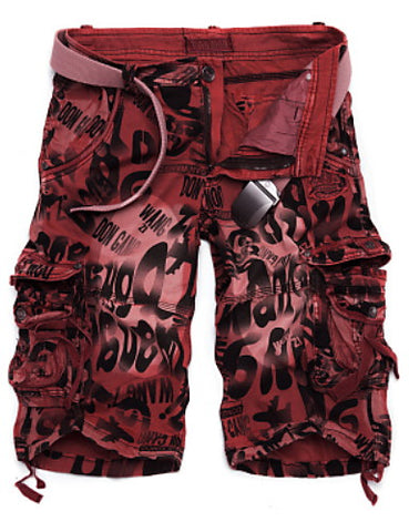 Front view of Wine-colored Military Throwback Style Graffiti Jeans Shorts for men