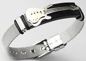 Top view of a men's guitar cuff bracelet.