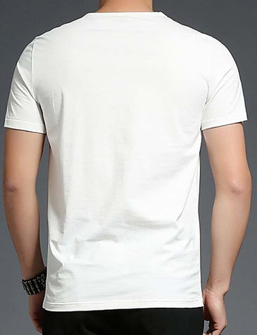 Back view of White-colored Crew Neck Short Sleeve T-Shirt for men