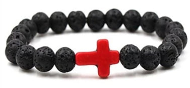Image of Front view of Black Natural Stone Bead Bracelet with Red Cross for men
