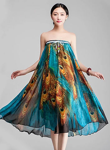 Image of Women's boho convertible dress/skirt worn in dress without belt.