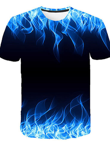 "Front view of Blue 3D ""Cool Fire"" Print Crew Neck Short Sleeve T-shirt for men"