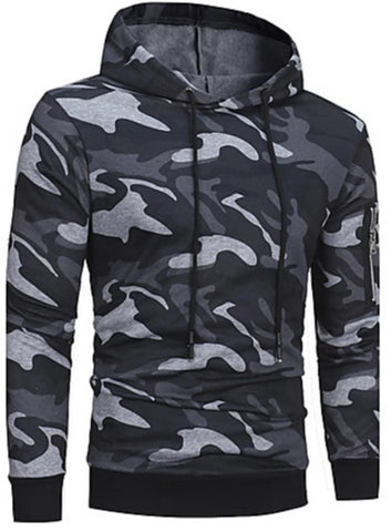 Front view of Gray Camo Hoodie with Zippered Sleeve Pocket for men