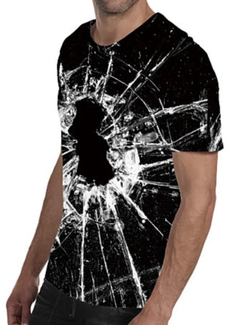 "Side view image of a man wearing Casual ""Shattered Glass"" Print Crew Neck Short Sleeve T-Shirt"